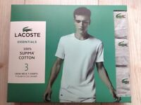 Lacoste 3 Pack Crew Neck T Shirts 100% Supima Cotton