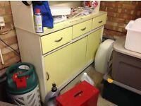 SOLD - Wooden Storage unit Yellow - old kitchen unit
