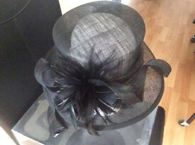 Black Sinamay Wedding /Special Occasion Hat With Feather Detail (Brand New)