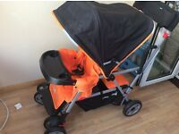 Joovy Caboose Ultralight Double Buggy / Stroller – Orange