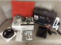 Nintendo wii~Black Limited Edition Console with Mario Kart~Boxed~2 Remotes, 1 Game~Wii Wheel