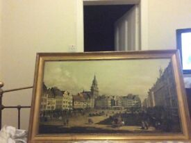 Large print of a Georgian scene, lovely large gold frame.