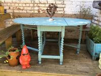 Gorgeous Shabby chic antique drop leaf dining table, farrow and Ball stone blue