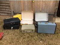 A selection of vintage suitcases.