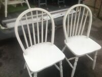 Pine table and 4 chairs painted white