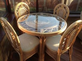 Cane and glass table