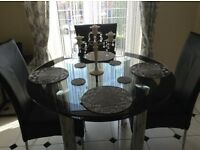 Immaculate 6 months Old Glass Two-Tier Table, 4 Chairs. In Shop @ £600+ BARGAIN £300