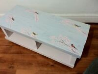 PAINTED SIDE coffee table decoupage funky RETRO BLUE shabby chic floral/birds tv stand console