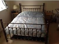 Metal framed double bed,matching side tables and memory foam mattree.