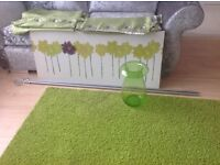 Rug, Curtain,Vase, Picture and Curtain Poles