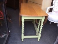 Solid oak dropleaf dining table