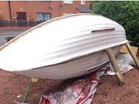 14 ft loch style fishing boat fibreglass hull flat bottom