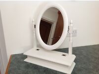 White Dressing Table Mirror with Adjustable Mirror