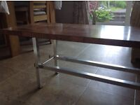 Retro coffee table with high gloss formica wood grain effect top and aluminium legs
