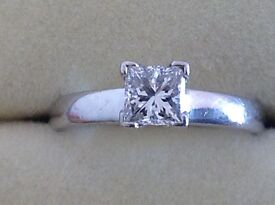 diamond solitaire ring and matching band ring 5.2 grams 0.65pts E VS size j 5.4 grams