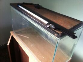 Aquaseal aquarium and wooden cabinet stand with LED light