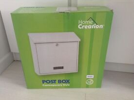 Lockable Post Box Contemporary Style in White