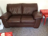 2seater brown leather sofa + footstool and matching 3 seater sofa bed