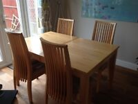 MAPLE EXTENDING DINING TABLE AND 4 CHAIRS