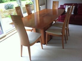 Contemporary dining table & six chairs.