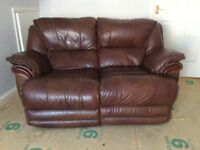 Leather electric reclining 2 seater sofa