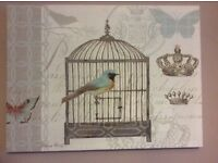 Pretty duck egg blue/cream signed canvas picture birds/butterflies great quality