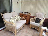 Conservatory Cane Furniture. 2 seater sofa and matching armchair.