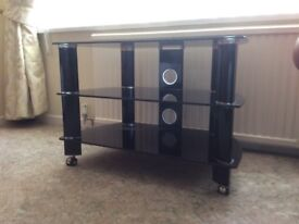 Black Glass TV Stand - For sale in excellent condition