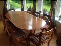 Dining room suite in yew,table, 8 chairs,sideboard and corner unit