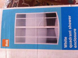 B&Q White Quadrant Shower Enclosure, Double Sliding Doors, NEW in box