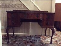 Vintage Burr Walnut Dressing Table with glass top