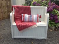 HAND PAINTED IN FRENCH/ SHABBY CHIC STYLE SOLID PINE MONKS BENCH