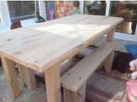 Solid oak bespoke made table and two benches