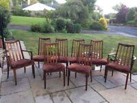 8 teak GPlan dining chairs - vintage, retro Danish