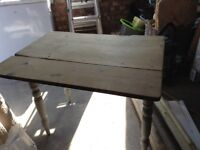 Old stripped pine table , 2 drop leaves and grey painted legs