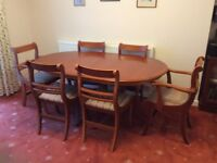 Antique Style Wooden Dining Table with 6 Chairs