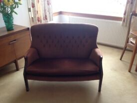 2 seater sofa brown