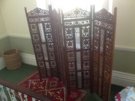 Indonesian hand carved wooden room divider