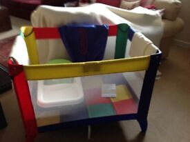 Graco travel cot. Also includes child's booster seat. Hardly used. As new.