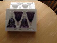 Purple wine glass set, brand new