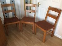 Wooden Chairs x 3