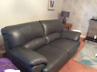 Two Grey Italian Leather Sofas (3 years old) - 2 seater & 3 seater