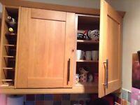 Complete oak kitchen. Units, work tops, sink, taps and wine racks.
