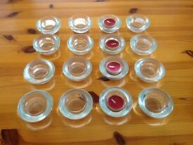 16 Glass Tea Light Candle Holders