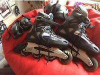 Salomon Inline Skates (Size 9, used) with elbow and wrist guards
