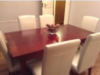 Extending dining table 6 cream leather chairs, £250 ono
