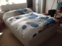IKEA BRIMNES Double bed with headboard, storage and mattress