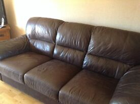 3 piece leather suite. Dark brown. Good quality £150