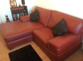 Brand new deep red leather SCS sofa