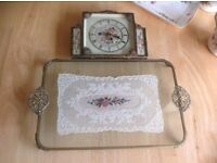 ANTIQUE TRAY AND CLOCK FOR A DRESSING TABLE ,HAND MADE LACE AND EMBROIDERY , AS A WEDDING PRESENT,